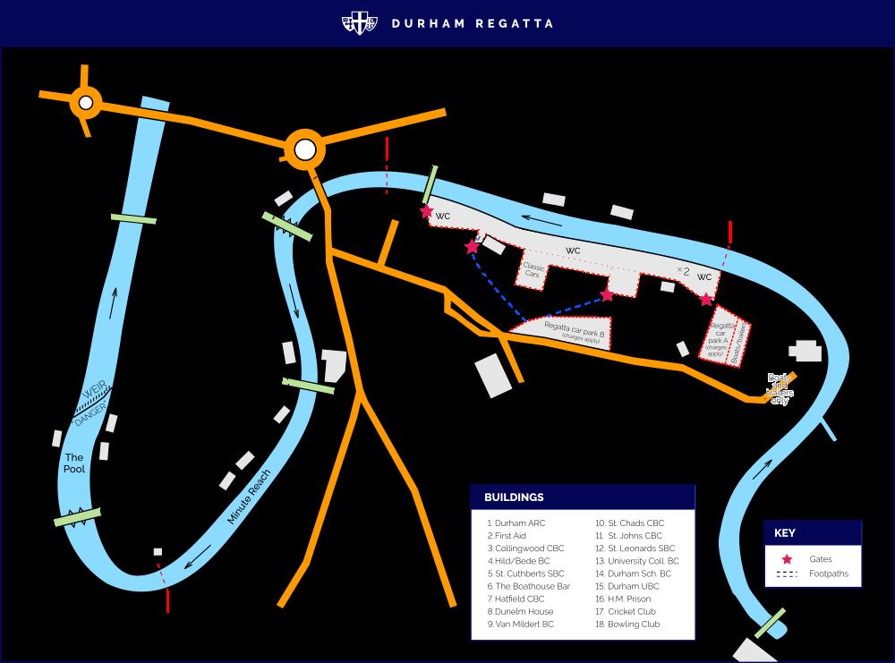 Course map - Durham Regatta on